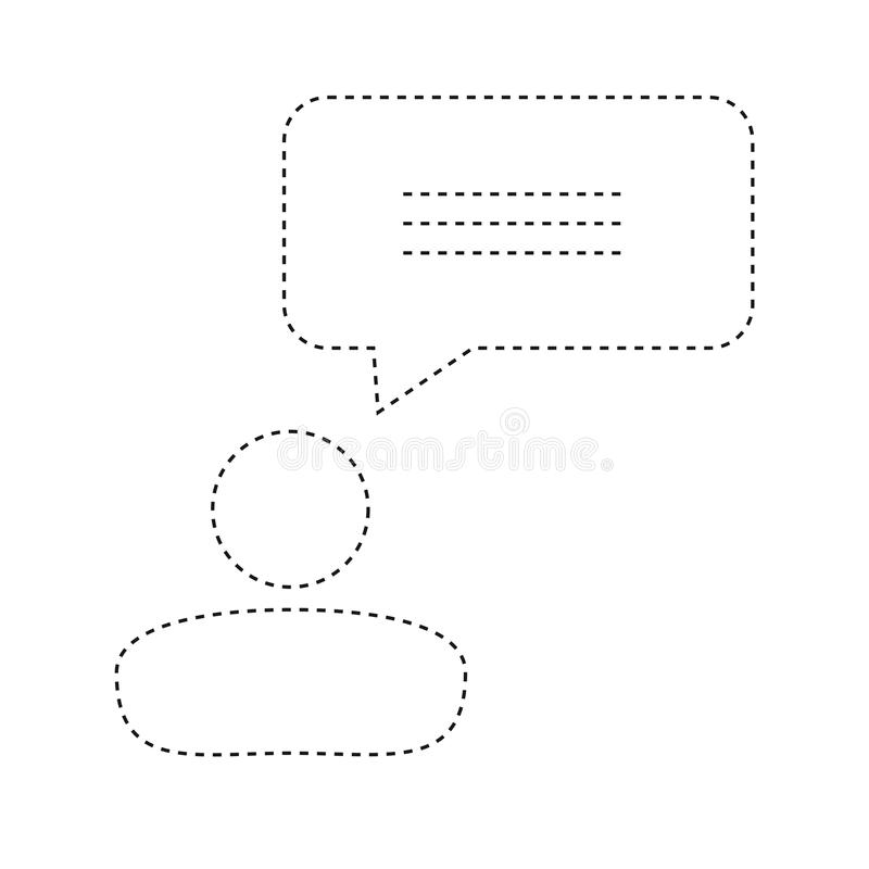 Flat Line Uncolored Business People And Speech Bubble Sticker Ov stock illustration