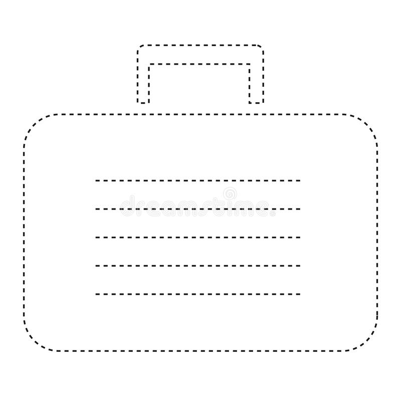 Flat Line Uncolored Business Suitcase Sticker Over White Backgro royalty free illustration