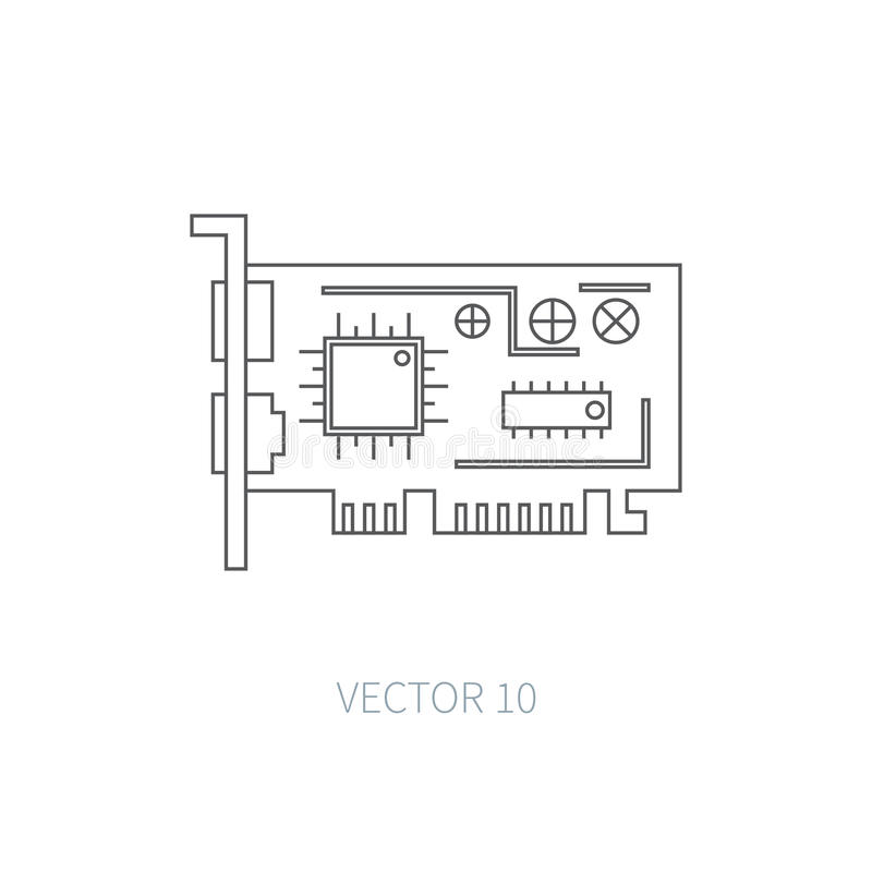 Flat line vector computer part icon - video card. Cartoon style. Illustration and element for your design. Simple vector illustration