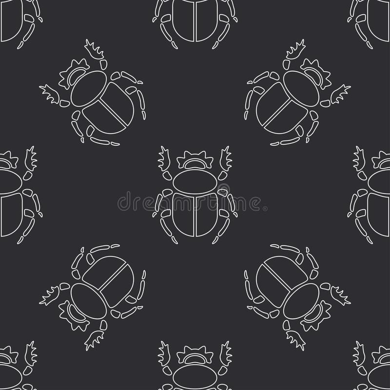 Free Flat Line Vector Seamless Pattern Wildlife Fauna Bug, Scarab. Simplified Retro Cartoon Style. Insect. Beetle. Entomology Stock Images - 111078264