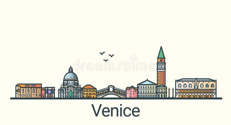 Flat line Venice banner vector illustration
