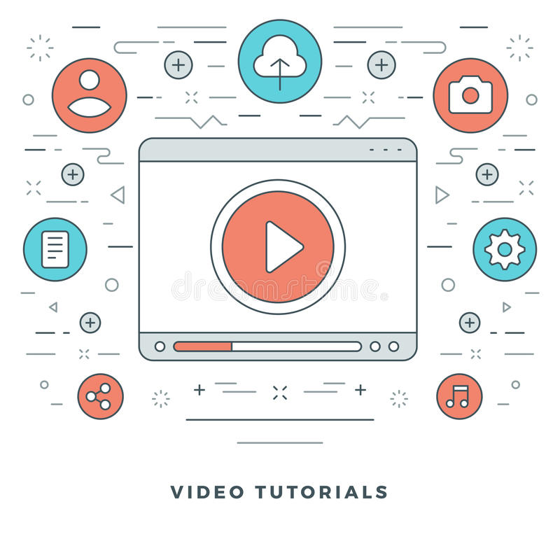Flat line Video Tutorials Concept Vector illustration. Modern thin linear stroke vector icons. Website Header Graphics, Banner, Infographics Design stock illustration