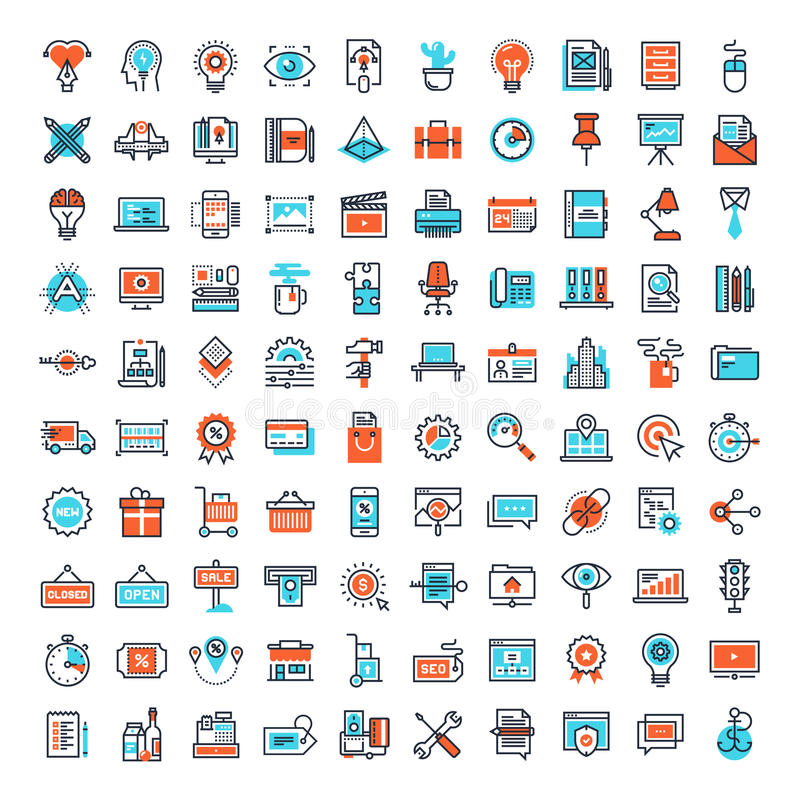 Flat Line Web Icons. Vector set of 150 flat line web icons on following themes - creative process, office and business, , shopping and retail, SEO and web stock illustration