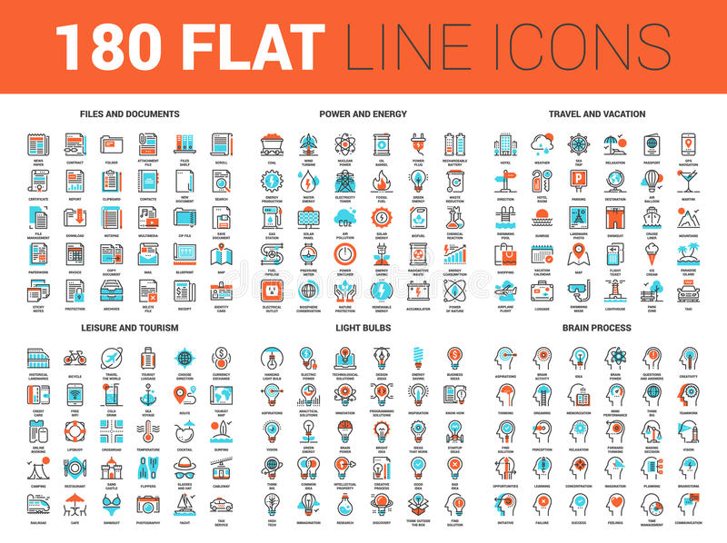 Flat Line Web Icons vector illustration