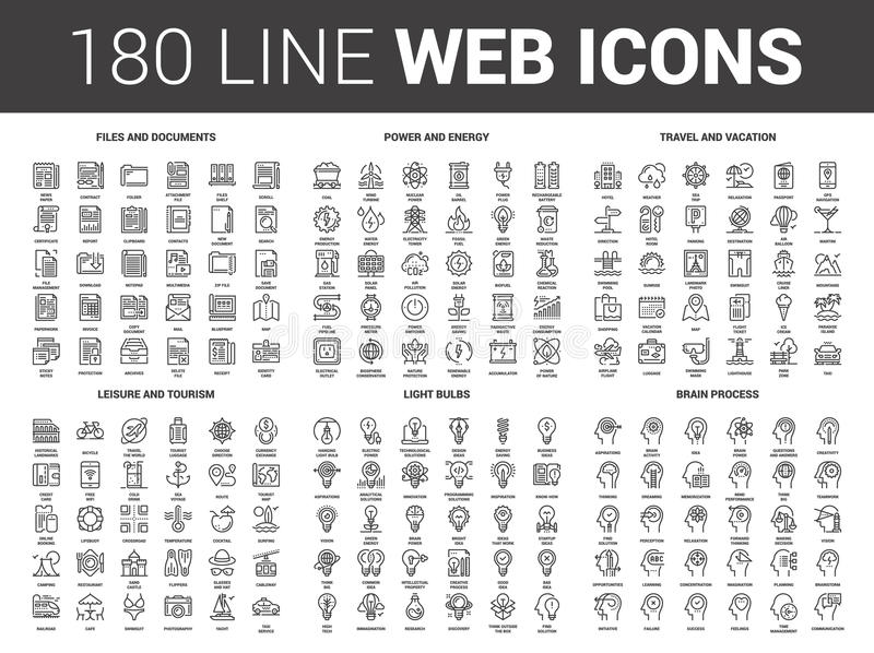 Flat Line Web Icons. Vector set of 180 flat line web icons on following themes - files and documents, power and energy, travel and vacation, leisure and tourism stock illustration