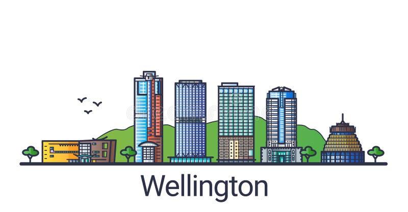 Flat line Wellington banner vector illustration
