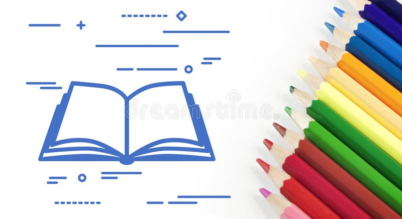 Flat linear design graphic image concept of open book icon with. Colorful row of pencils isolated on white background stock illustration
