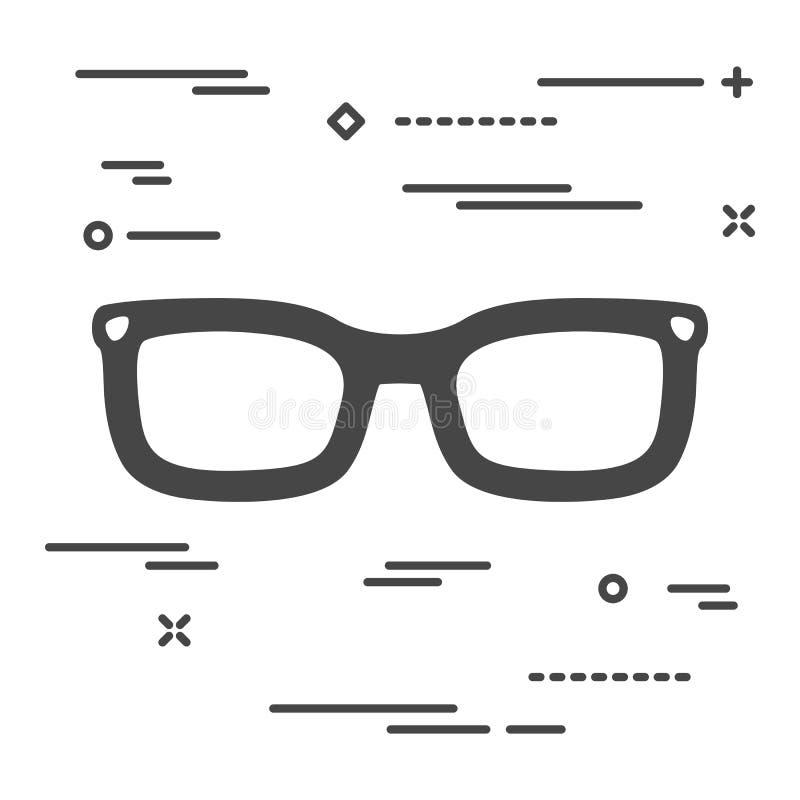 Flat linear glasses icon. Vector, design, background, black, isolated, illustration, modern, style, fashion, optical, vision, frame, eyeglasses, symbol, retro royalty free illustration