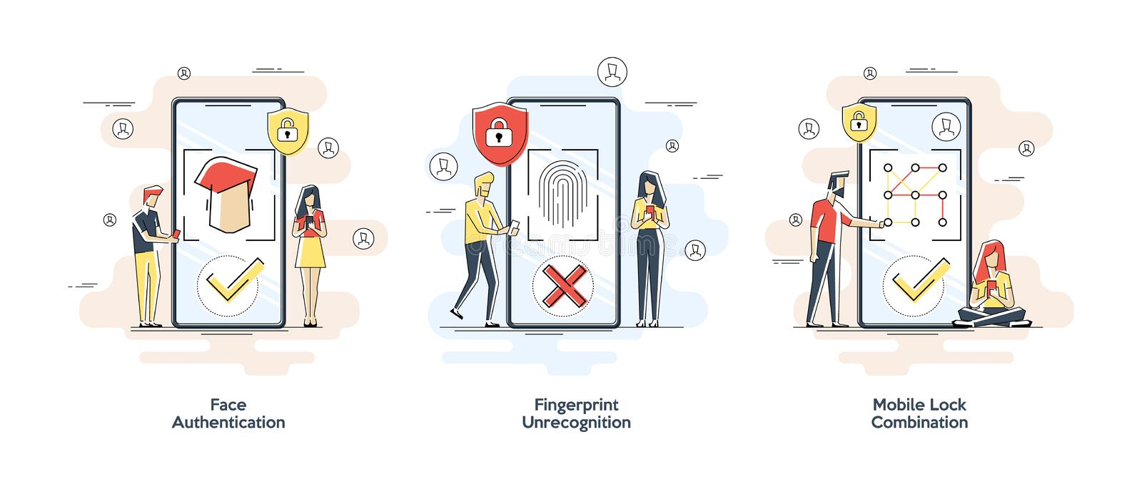 Flat linear illustrations of Biometric authentication concept. Set with privacy protection and recognition elements  royalty free illustration