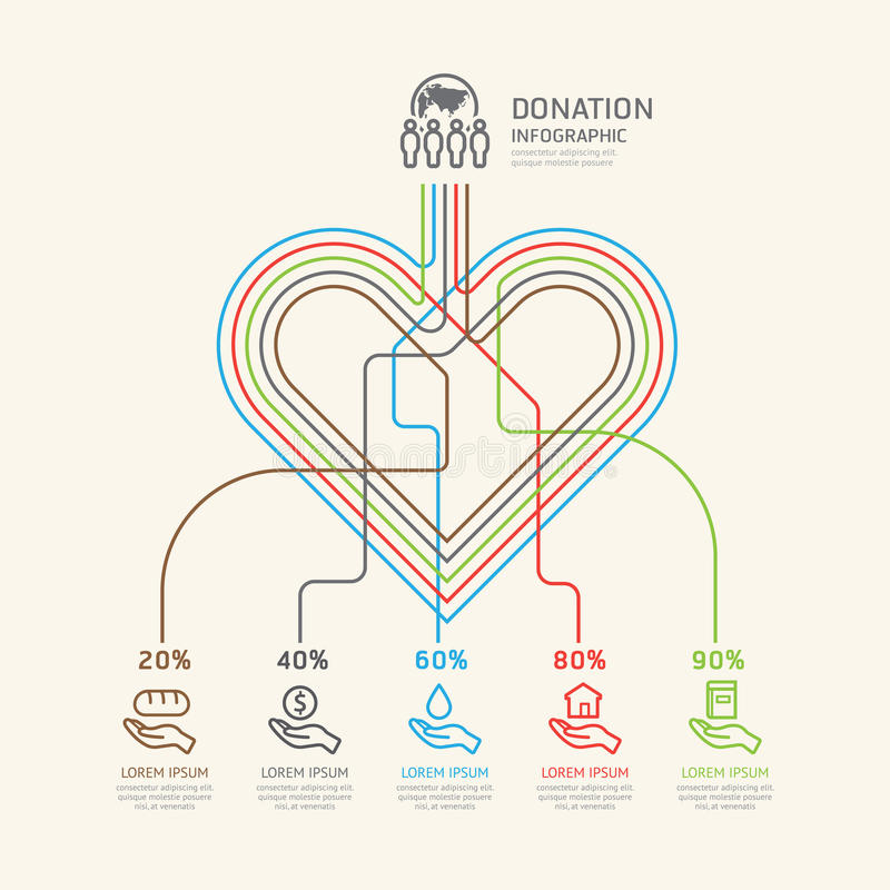 Flat linear Infographic Charity and Donation Outline concept. stock illustration