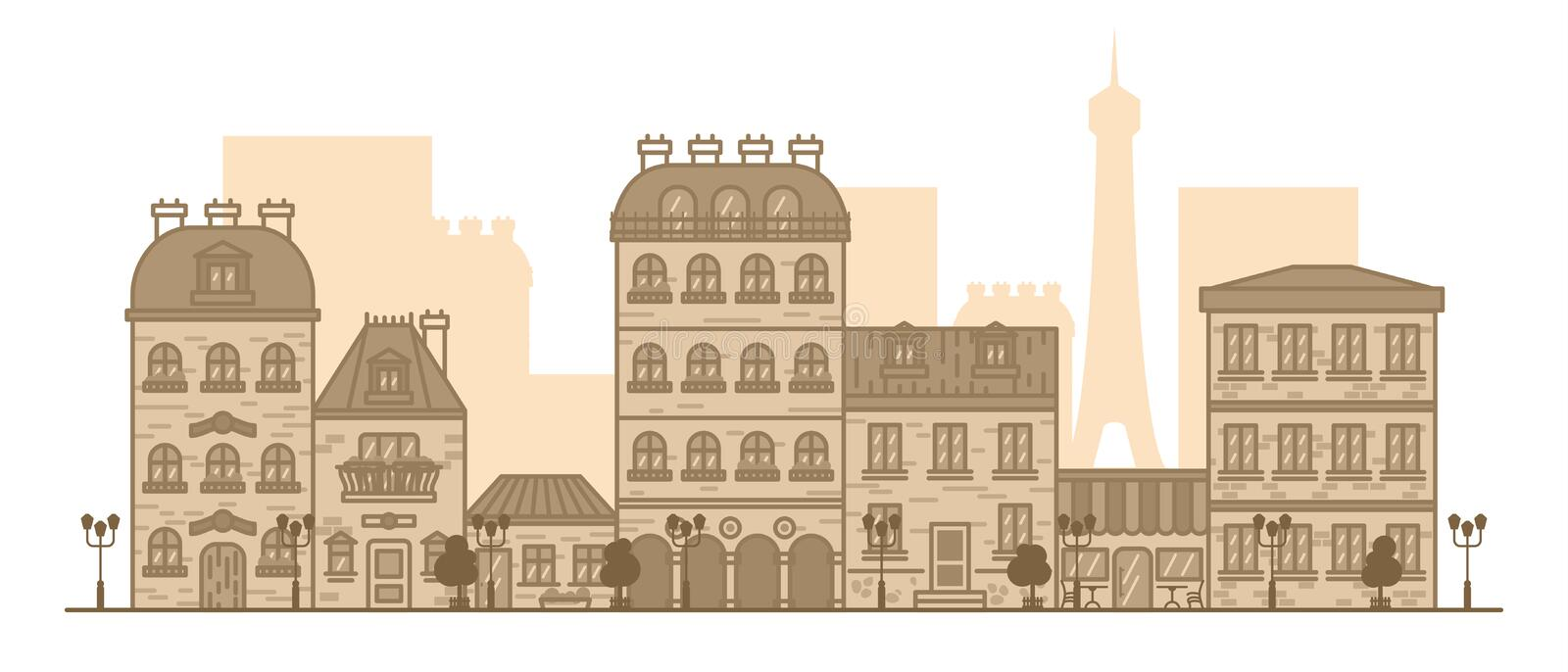Flat linear panorama of the city landscape with buildings and houses. tourism, travel to Paris Vector illustration royalty free illustration
