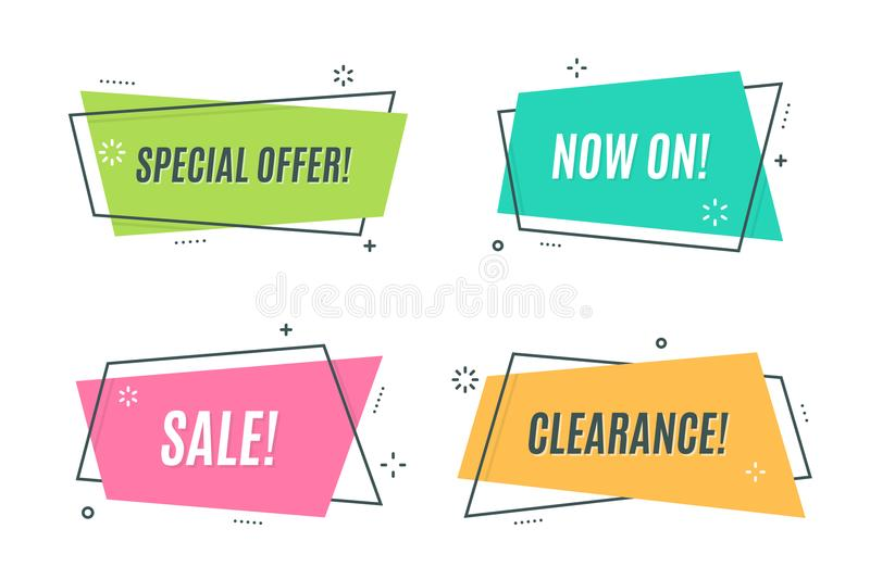 Flat linear promotion ribbon banner, scroll, price tag, sticker, royalty free illustration