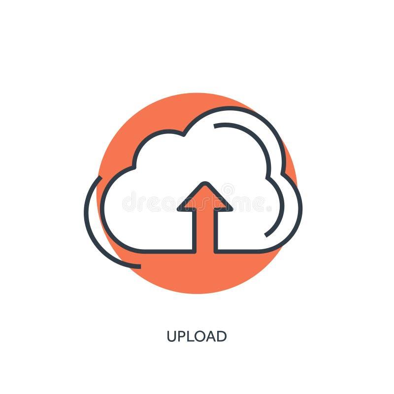 Flat lined cloud computing icon. Data storage. royalty free illustration