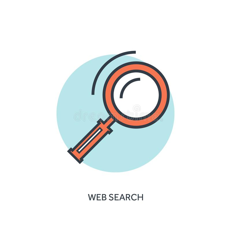 Flat lined loupe icon. Web search. stock illustration