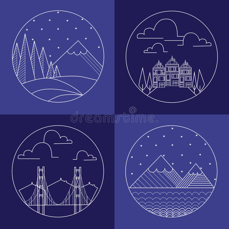 Flat liner mountain landscape and buldings. royalty free illustration