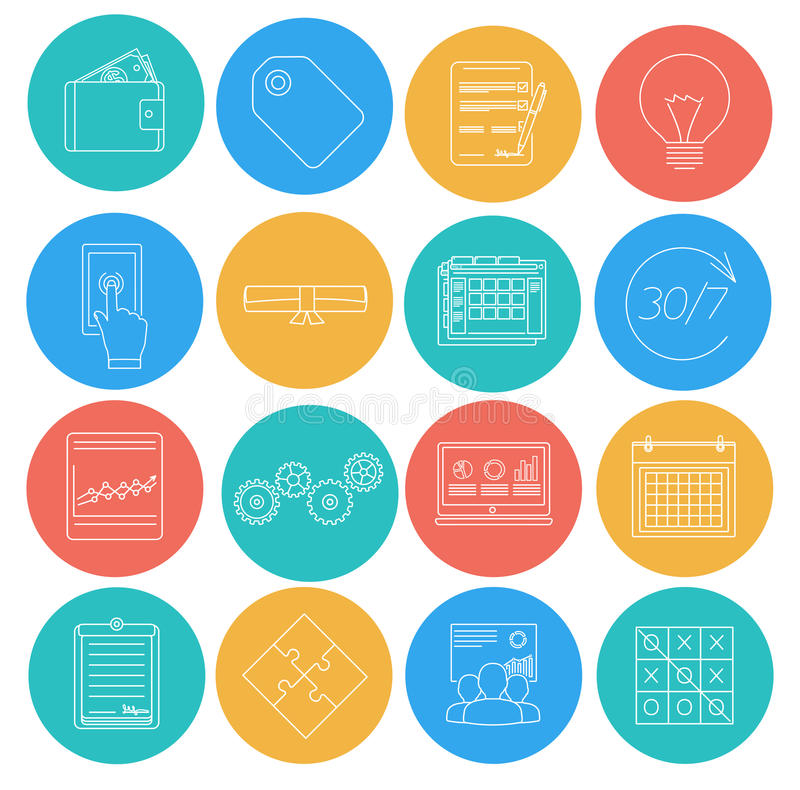 Flat lines icons of business and finance. Electronic commerce, SEO, marketing, office. Elements for web and mobile applications royalty free illustration