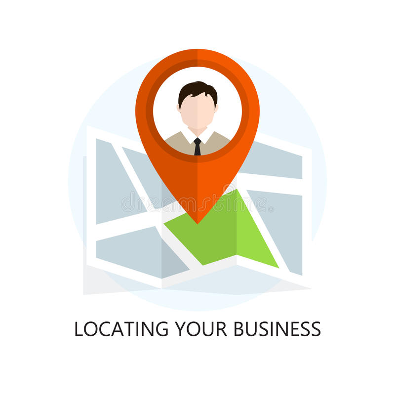 Flat Location Icon. Locating Your Business. Flat Colored Location Icon. Locating Your Business stock illustration