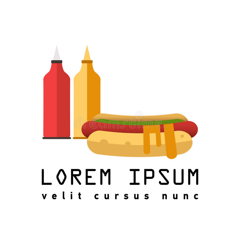 flat logo hot dog sign of street food stock vector illustration rh dreamstime com