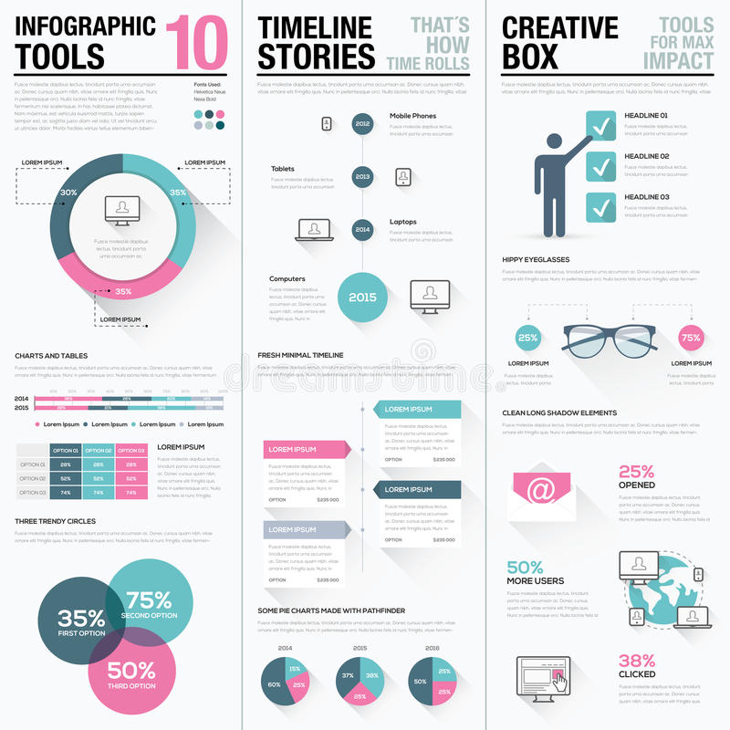 Flat long shadow pink and blue creative infographic vector set royalty free illustration