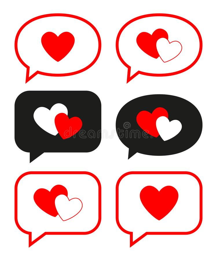 Flat love messages set stock illustration
