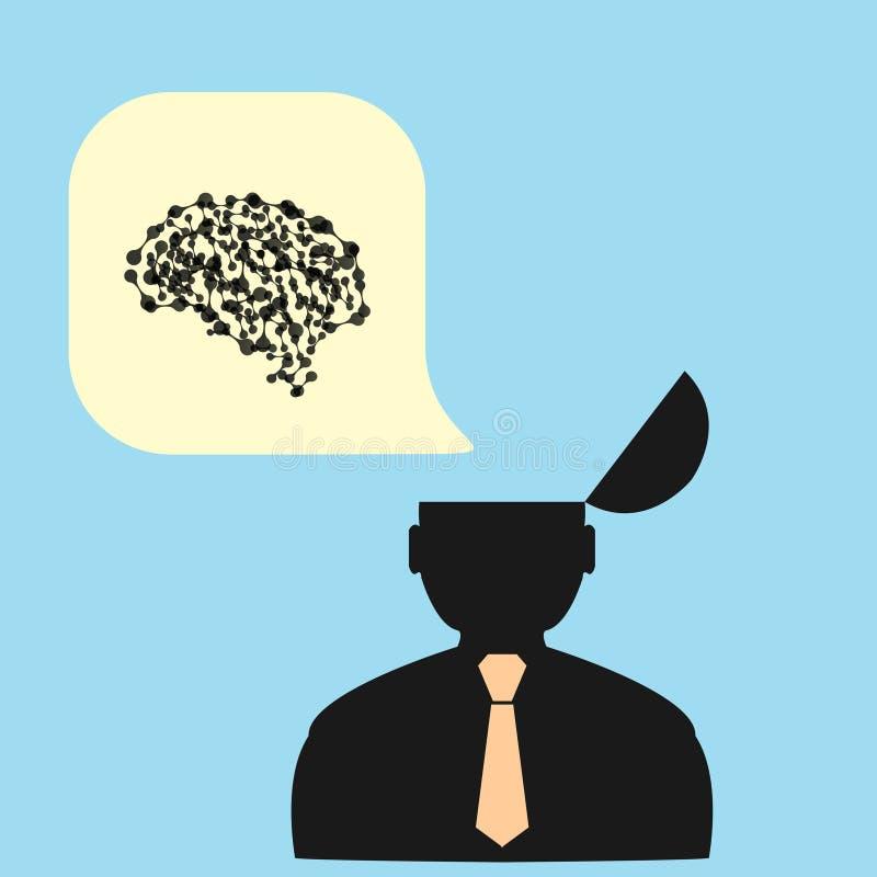 Flat man and his brain. vector illustration.  royalty free illustration