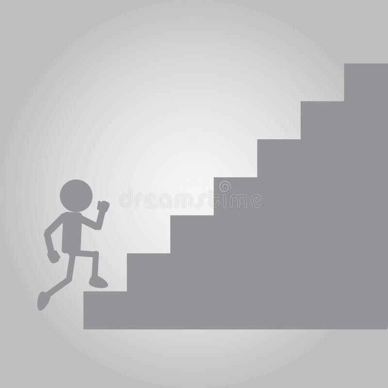 Flat Man Running on up stair of Challenge. Vector illustration of flat man running confidently on the stair of challenge to find success stock illustration