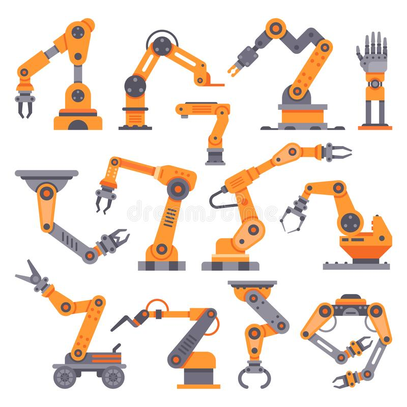 Flat manufacture robotic arm. Automatic robot arms, auto factory conveyor industrial equipment. Electronics robots hands stock illustration