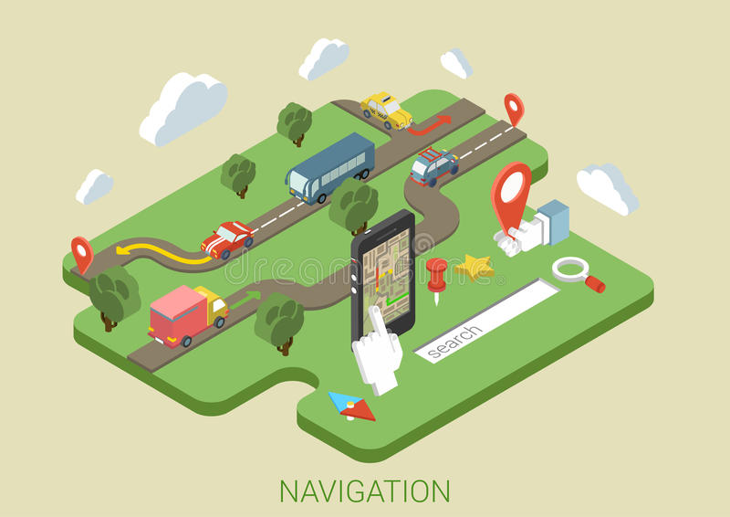 Flat map mobile phone GPS navigation 3d isometric concept vector illustration