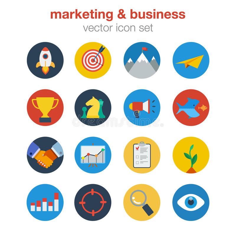 Flat marketing and business ingographic icons set. Flat marketing business design icon set. Web click infographics style vector illustration concept. Startup royalty free illustration