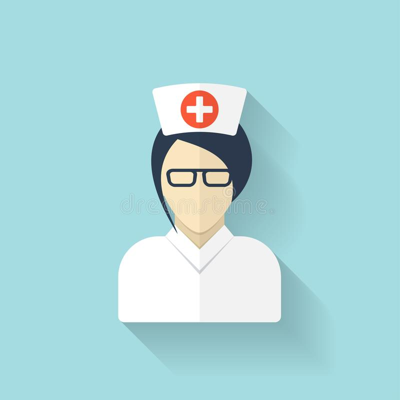 Flat medical doctor icon. Account profile avatar. Health care. stock illustration