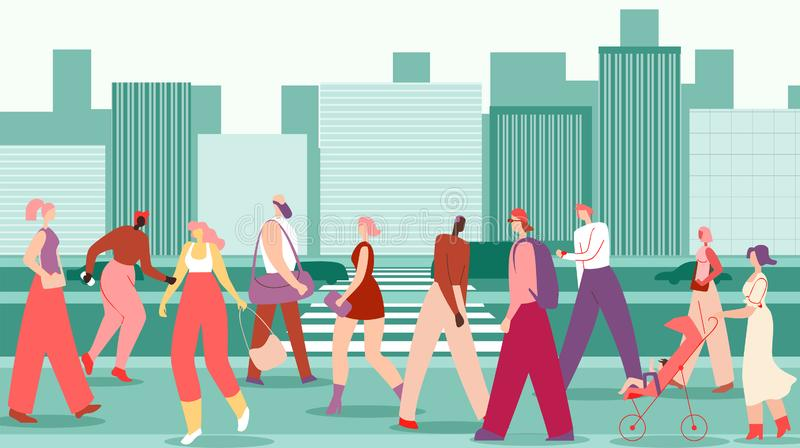 Flat Men and Women Walk Along Big City Street. City Residents Go about their Business in Pedestrian Zone City. Walking is Good for Health. People Rush Down royalty free illustration