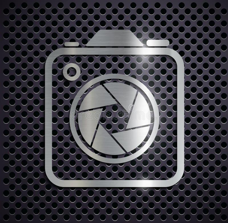 Flat metallic logo camera. stock illustration
