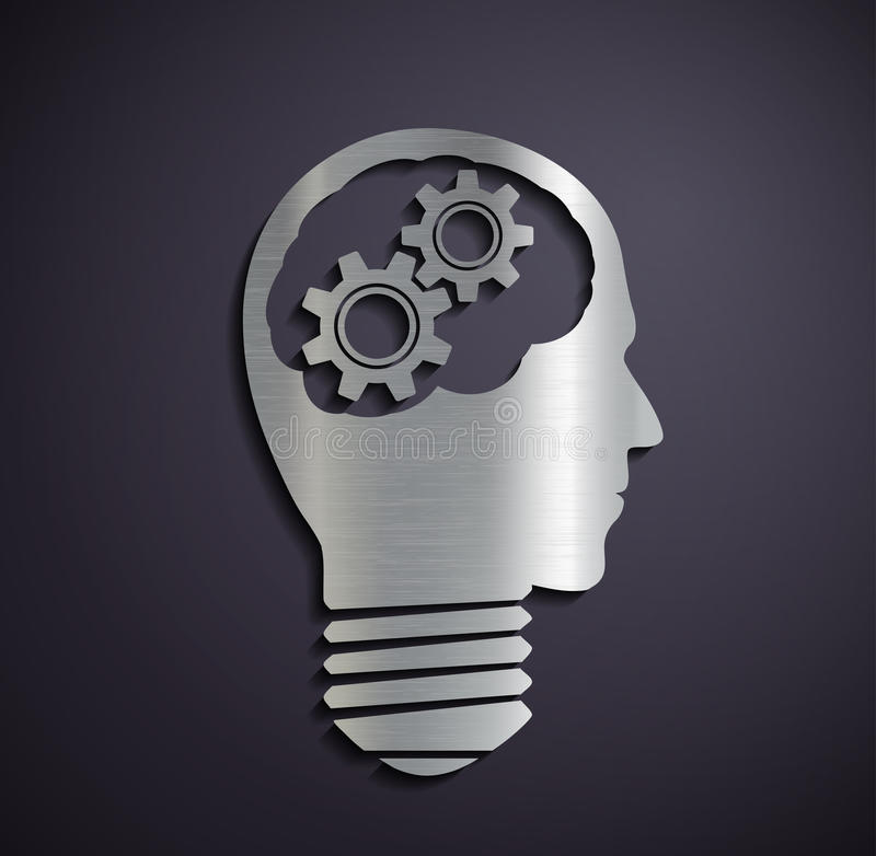 Flat metallic logo head with mechanical gears. royalty free illustration