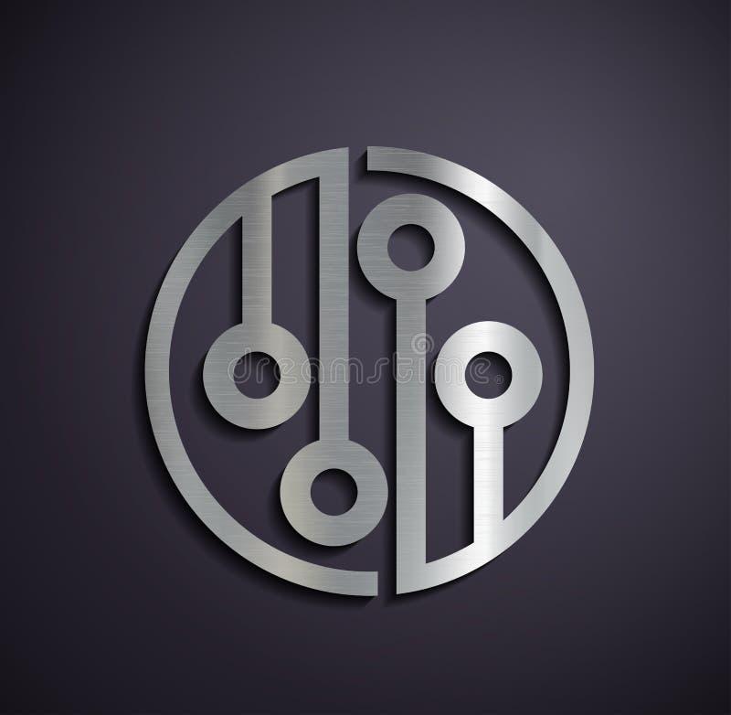 Flat metallic logo microchip. royalty free illustration