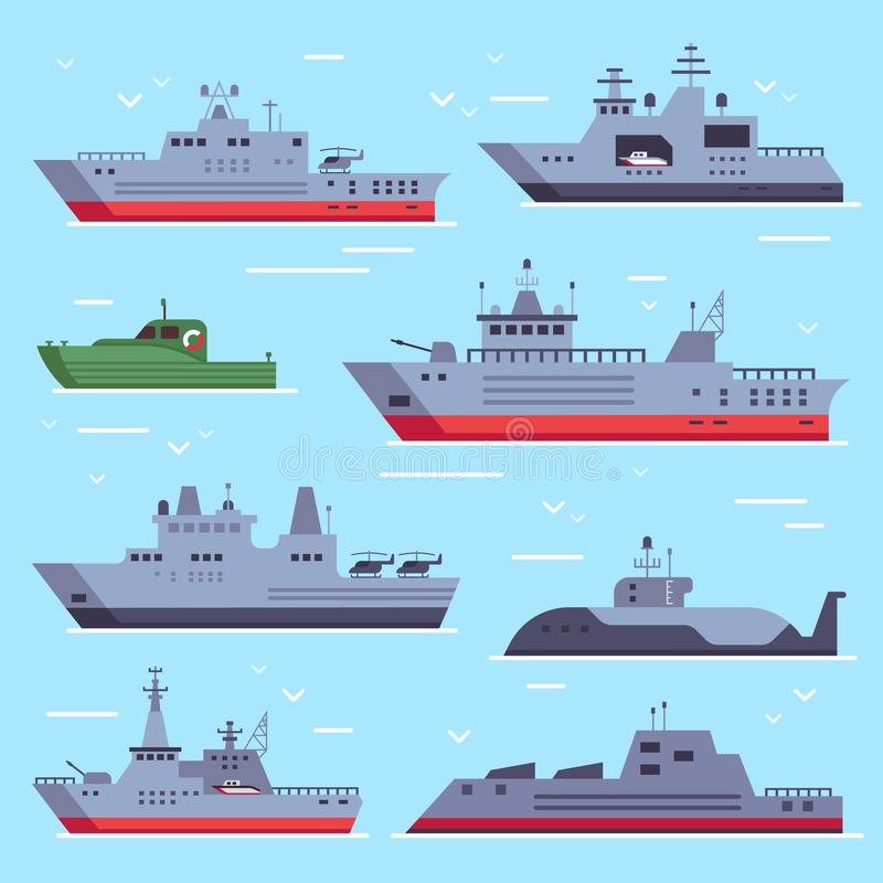 Flat military boats. Navy battle ships, sea combat security boat and battleship weapon. Naval warship vector collection. Flat military boats. Navy battle ships vector illustration
