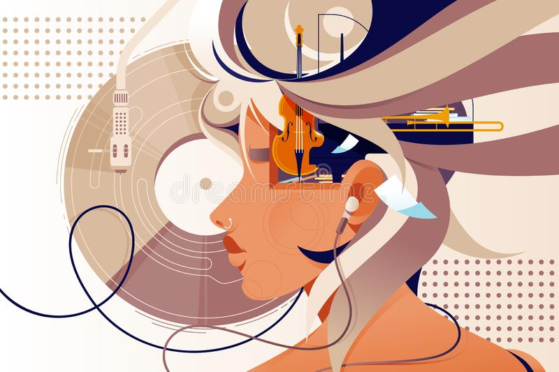 Flat mind vision with music instrument and modern device. Concept woman person character with headphones, music plate and double bass. Vector illustration vector illustration