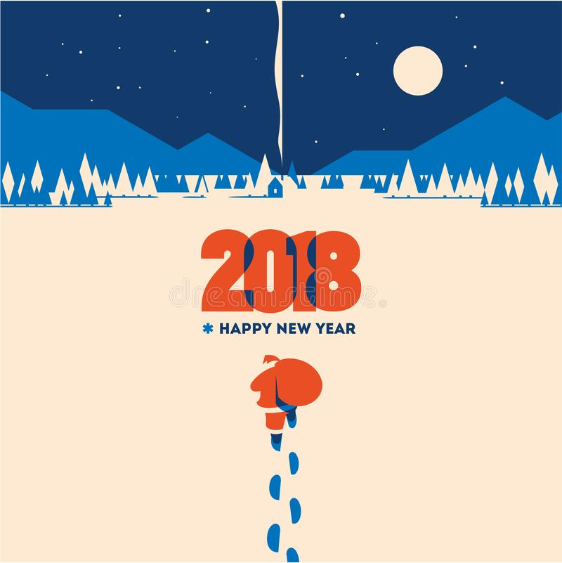 New year 2018 minimalistic vector illustration. Flat minialistic vector illustration with santa claus on snow. Christmas vintage hipster poster for party or