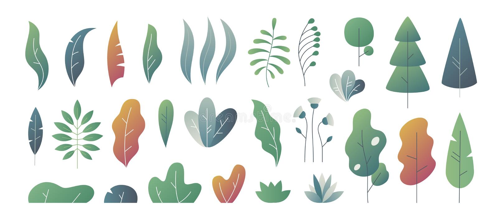 Flat minimal leaves. Fantasy colors gradation, leaves bushes and trees design templates, nature gradient plants. Vector. Cute autumn leaves stock illustration