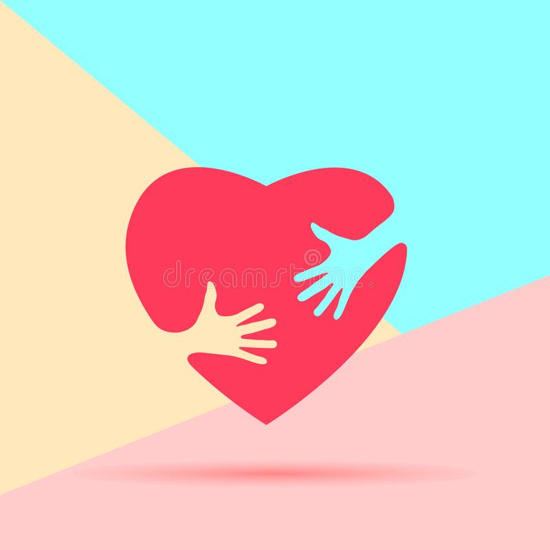 Flat minimalism art design graphic image of Embrace Heart Shape with hands Logo design template icon on pastel colored pink and stock illustration