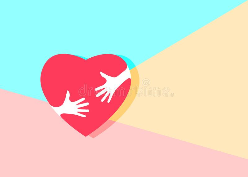 Flat minimalism art design graphic image of Embrace Heart Shape. With hands Logo design template icon on pastel colored pink and blue background, hugging heart royalty free illustration