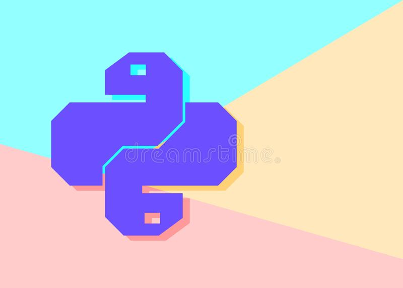 Flat minimalism pastel colored python code icon. Trendy snake vector symbol for web site development or button to mobile app. royalty free illustration