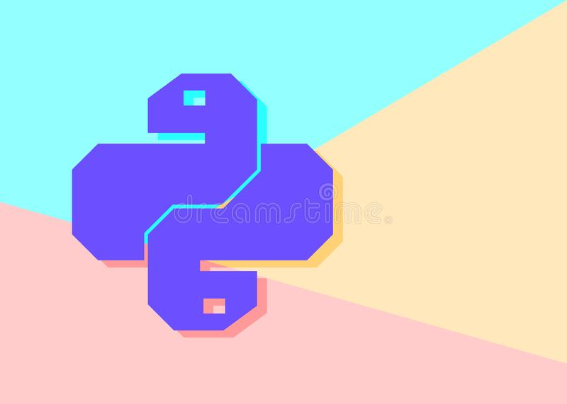Flat minimalism pastel colored python code icon. Trendy snake vector symbol for web site development or button to mobile app royalty free illustration