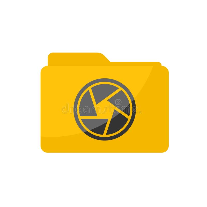 Flat minimalist Camera Folder icon in rounded square style stock illustration