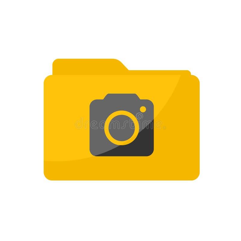 Flat minimalist Camera Folder icon in rounded square style royalty free illustration