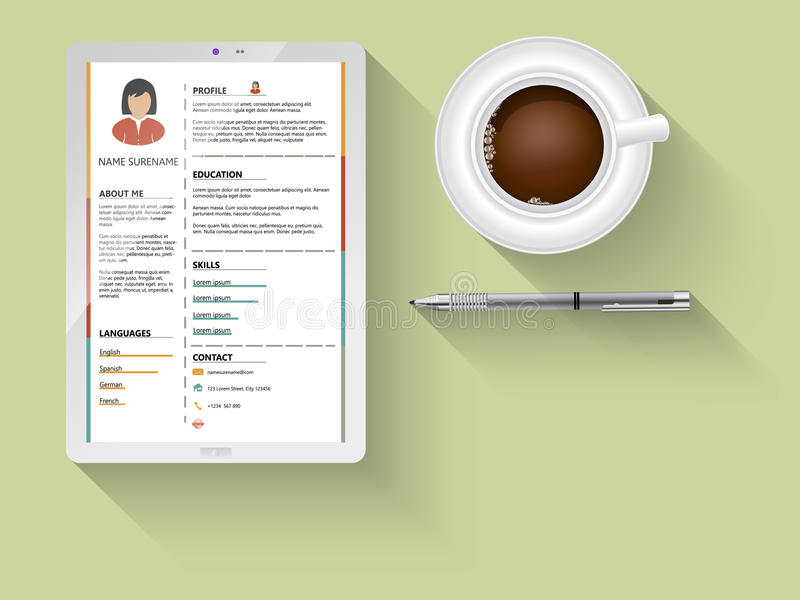 Flat minimalist cv stock illustration