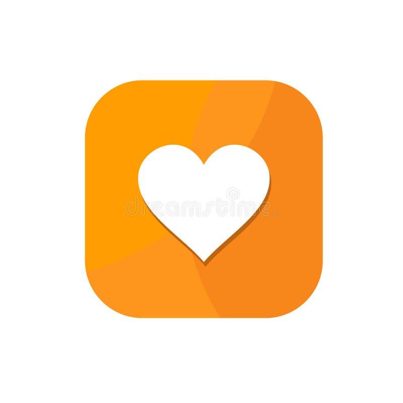Flat minimalist love App icon stock illustration