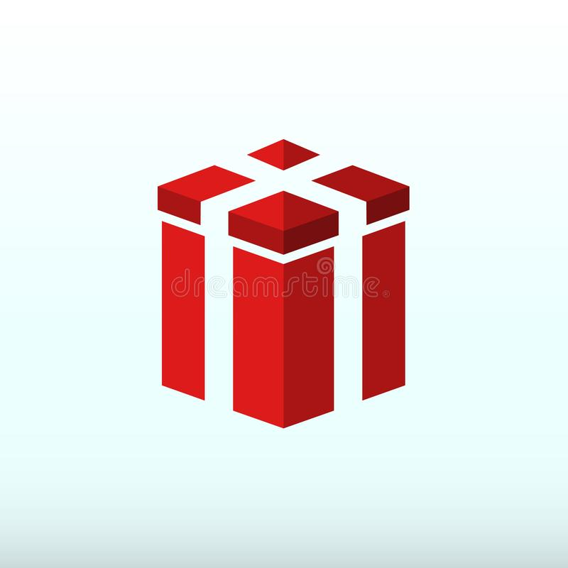 Flat minimalist red gift box icon royalty free illustration