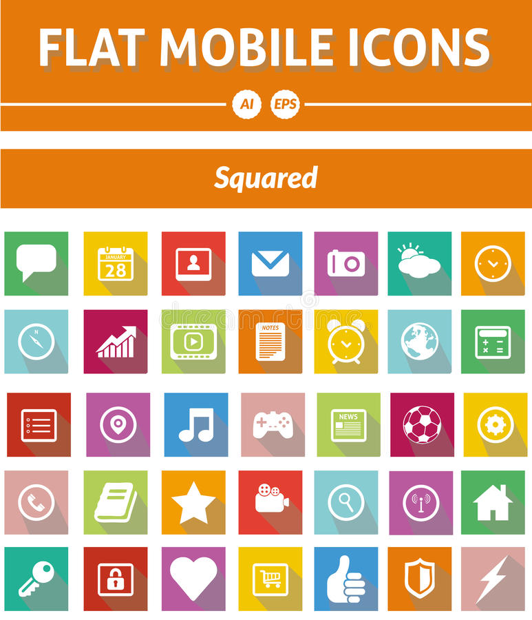 Flat Mobile Icons - Squared Version vector illustration