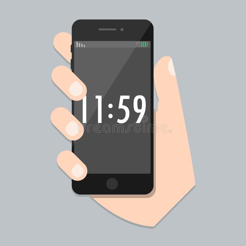 Flat mobile phone with arm and isolated time screen. SmartPhone Icon in iphone style. Trendy vector vector illustration