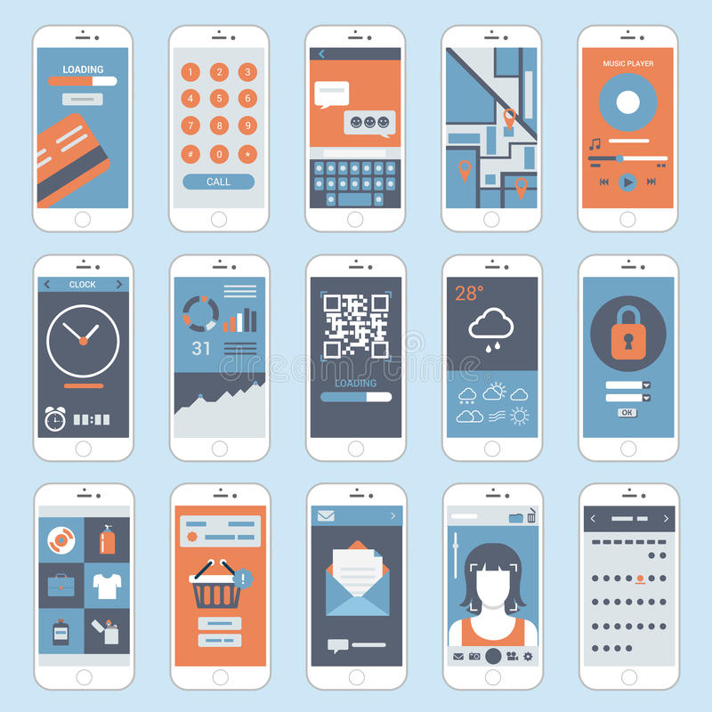 Flat mobile touch screen phones interface windows vector royalty free illustration